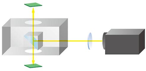 Unidad óptica de vista arriba y abajo